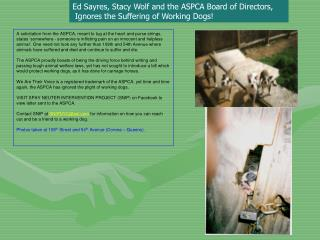 Ed Sayres, Stacy Wolf and the ASPCA Board of Directors,  Ignores the Suffering of Working Dogs!