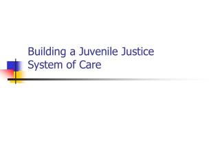 Building a Juvenile Justice  System of Care