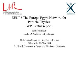 EENP2 The Europe Egypt Network for Particle Physics   WP3 status report