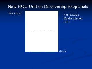 New HOU Unit on Discovering Exoplanets