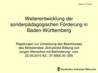 Weiterentwicklung der sonderpädagogischen Förderung in Baden-Württemberg