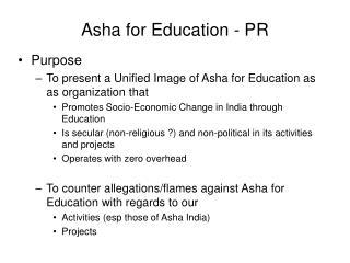 Asha for Education - PR