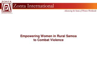 Empowering Women in Rural Samoa  to Combat Violence