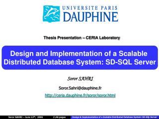 Soror SAHRI Soror.Sahri@dauphine.fr  ceria.dauphine.fr/soror/soror.html