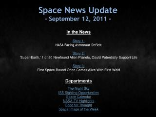 Space News Update - September 12, 2011 -