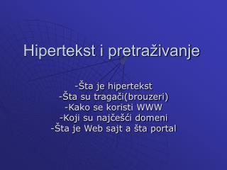 Hipertekst i pretraživanje