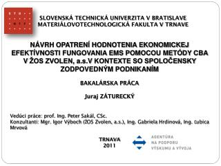 SLOVENSKÁ TECHNICKÁ UNIVERZITA V BRATISLAVE MATERIÁLOVOTECHNOLOGICKÁ FAKULTA V TRNAVE