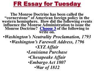 FR Essay for Tuesday