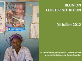 REUNION CLUSTER NUTRITION 04 Juillet 2012 Dr Albert Tshiula, Coordinateur Cluster Nutrition