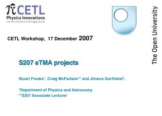 CETL Workshop,  17 December  2007