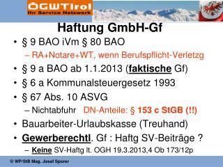 Haftung GmbH-Gf