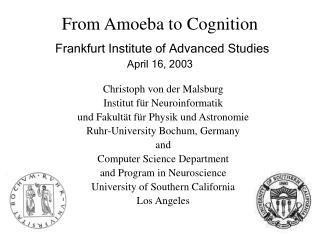 From Amoeba to Cognition Frankfurt Institute of Advanced Studies April 16, 2003