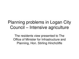 Planning problems in Logan City Council – Intensive agriculture