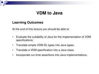 VDM to Java