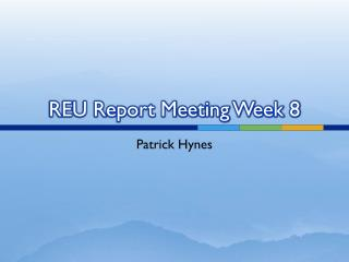 REU Report Meeting Week 8