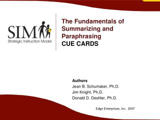 The Fundamentals of Summarizing and Paraphrasing CUE CARDS