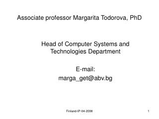 Associate professor Margarita Todorova, PhD