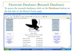 Electronic Databases (Research Databases)