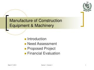 Manufacture of Construction Equipment  Machinery