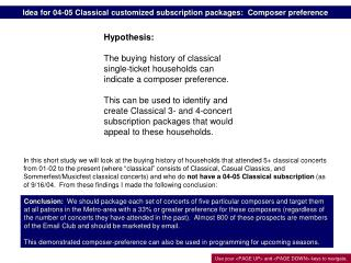 Idea for 04-05 Classical customized subscription packages:  Composer preference