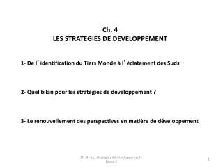 Ch. 4  LES STRATEGIES DE DEVELOPPEMENT