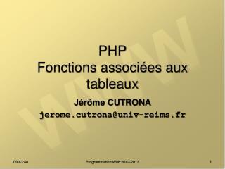 PHP Fonctions associées aux tableaux