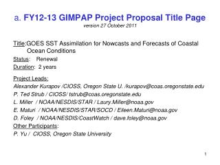 a.  FY12-13 GIMPAP Project Proposal Title Page version 27 October 2011