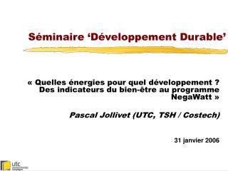 Séminaire 'Développement Durable'