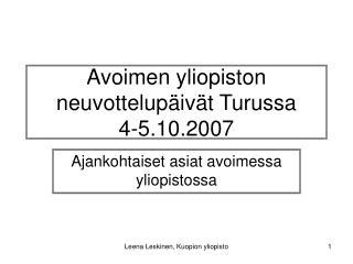 Avoimen yliopiston neuvottelupäivät Turussa 4-5.10.2007