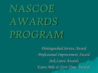 NASCOE AWARDS PROGRAM