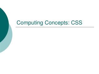 Computing Concepts: CSS