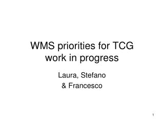 WMS priorities for TCG work in progress