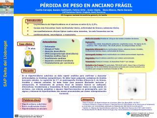 PÉRDIDA DE PESO EN ANCIANO FRÁGIL