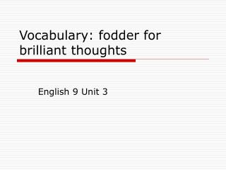 Vocabulary: fodder for brilliant thoughts
