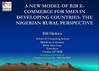 A NEW MODEL OF B2B E-COMMERCE FOR SMES IN DEVELOPING COUNTRIES: THE NIGERIAN RURAL PERSPECTIVE