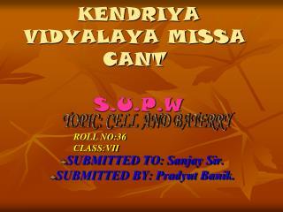 KENDRIYA VIDYALAYA MISSA CANT  S.U.P.W