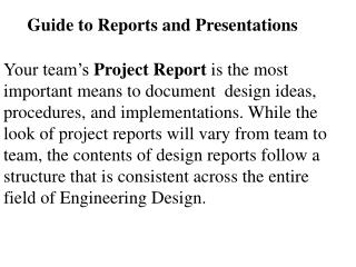 Guide to Reports and Presentations