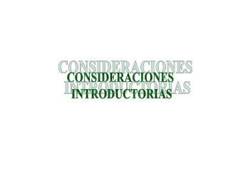 CONSIDERACIONES  INTRODUCTORIAS