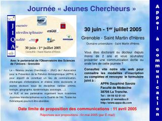 Date limite de proposition des communications : 11 avril 2005