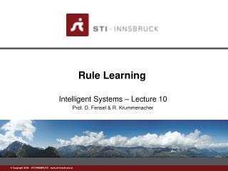 Rule Learning