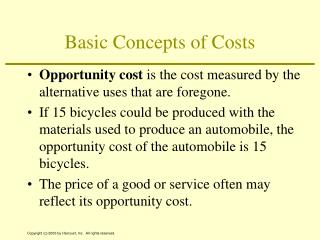 Basic Concepts of Costs