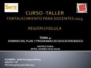 CURSO -TALLER FORTALECIMIENTO  PARA  DOCENTES 2013  REGI�N CHOLULA
