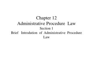 Concept of administrative procedure law