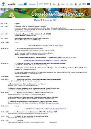 Martes 12 de mayo del 2009 8:00 – 8:30:Registro