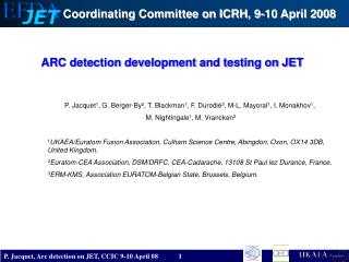 ARC detection development and testing on JET