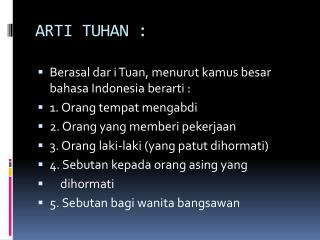 ARTI TUHAN :