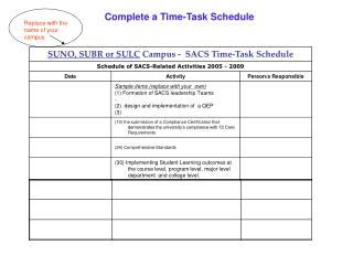 Complete a Time-Task Schedule