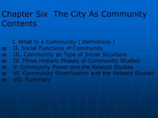 Chapter Six  The City As Community Contents