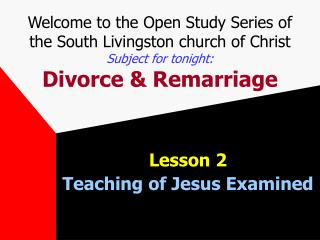 Lesson 2 Teaching of Jesus Examined
