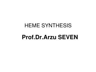 HEME SYNTHESIS